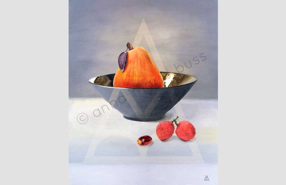Pear and Lychee Still Life by Anna-Marie Buss