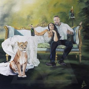 The Wedding Couple by Anna-Marie Buss, portrait in oils