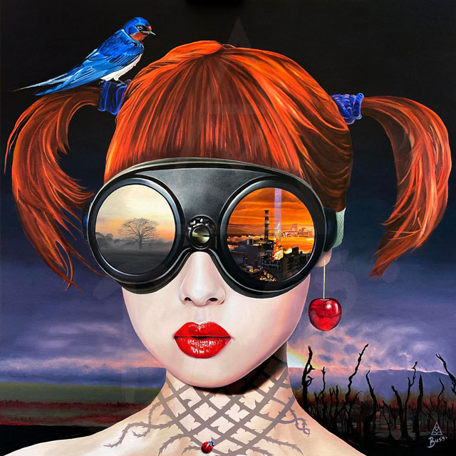 Girl wearing goggles with reflection showing the Chernobyl disaster. A barn swallow bird sits in her hair. She has cherry red lips and a cherry earring.