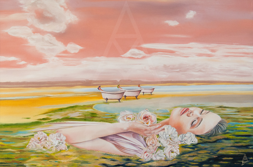Ophelia, bride floating, sea landscape, Brides in the Bath by Anna-Marie Buss artist